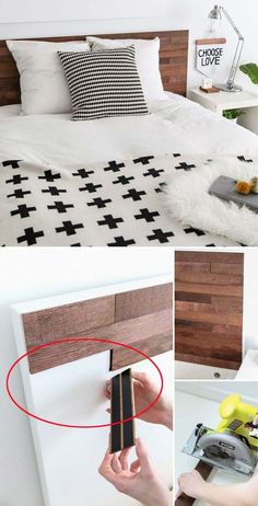 Cover the plain IKEA headboard with pieces of Stikwood made from reclaimed barrel oak boards.