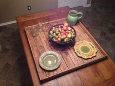 Large Rustic Wooden Ottoman Tray Pallet Tray by DunnRusticDesigns