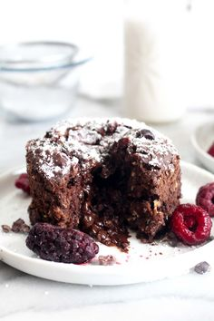 This Chocolate Lava Baked Oatmeal Cake is a rich, chocolate-y breakfast cake that is secretly healthy and made with whole food ingredients!