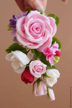 Купить Зажим для волос с розой, сиренью и фрезией - розовые розы, бутоны роз, фрезия, заколочка