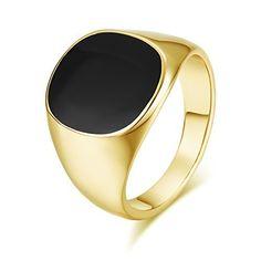 4ceb417c1 Offerta di oggi - Yoursfs Dell'anello di Signet, mignolo anelli gioielli  per uomini piazza pietra nera onice luce anello placcato in oro giallo  18ct. a Eur.
