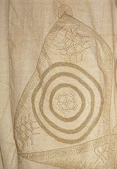 """Detail of the hand-embroidered front of a rare style of man's robe from Jenne and Timbuctu in Mali, called a """"boubou tilbi."""""""