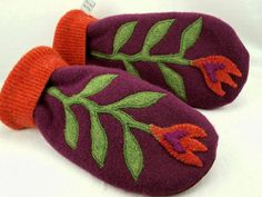 Flower Mittens Felted Wool in Wine Red, Green and Orange