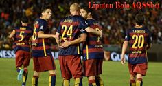 Luis Suarez R) of Barcelona celebrates with teammates after scoring against the Los Angeles Galaxy during their International Champions Cup game at the Rose Bowl Stadium in Pasadena, California on July 2015 (AFP Photo/Mark Ralston) Rose Bowl Stadium, International Champions Cup, Cup Games, Fc Barcelona, Real Madrid, Dan, Basketball Court, Sports, Pasadena California