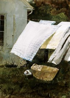 """""""Laundry rooms of old"""". ♥ Laundry Day by Andrew Wyeth Andrew Wyeth Art, Jamie Wyeth, Andrew Wyeth Paintings, What A Nice Day, Jackson Pollock, Art Plastique, Oeuvre D'art, Painting & Drawing, Watercolor Paintings"""