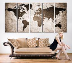 CANVAS ART Print World Map Canvas Print X by ExtraLargeWallArt
