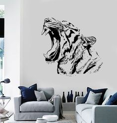 Wall Stickers Tiger Roar Head Jungle Africa Ethnic by BoldArtsy Animal Wall Art, Mural Art, Tiger Artwork, Boy Room Art, Wall Art Designs, Mural Wall Art, Wall Painting, Wall Stickers Tiger, Colorful Animal Paintings