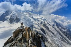 Finishing up the Cosmiques Arete route on Aiguille du Midi. Mont Blanc du Tacul, Mont Maudit and Mont Blanc are seen in the background.