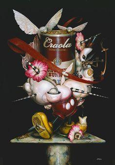 """Label Me,"" acrylic on canvas. | CRAOLA. / Pop Surrealism Now: Greg CRAOLA Simkins"