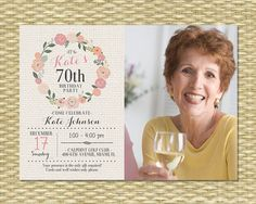 Floral birthday invitation fifty and fabulous 50th birthday birthday invitation milestone birthday any event floral circle burlap typography photo filmwisefo Image collections