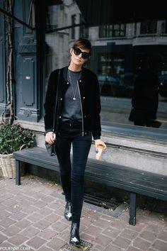 POLIENNE | wearing a VILA velvet bomber jacket, H&M tee, CHEAP MONDAY denim, CELINE sunglasses, MOROBE booties & COACH bag