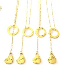Gold Heart Mom, Aunt, Grandma or Daughter Y-Necklace from Rana Jabero