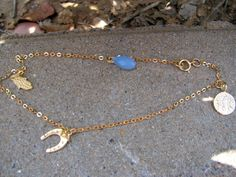 Ankle bracelet, good luck charms, gold ankle bracelet, foot jewelry,gold anklet,anklet,. $28.00, via Etsy.