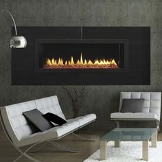 Multiple models add architectural interest and sweeping landscape views. Or spread the style into two spaces with a see-through version. Fortify your style by finishing your fireplace. From jagged crystal glass or smooth porcelain stone, to multicolored LED lighting or reflective black panels.