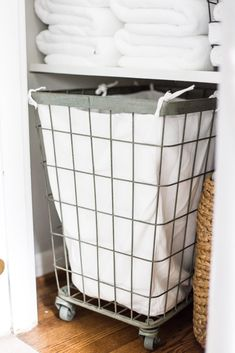 Linen Closet Organization Makeover | blesserhouse.com - 7 tips for perfect linen closet organization for the best ways to sort sheets, keep cleaning supplies handy, make laundry easier, and have guest amenities in easy reach. #organizing #linencloset #organization #bathroomorganizing Girls Closet Organization, Laundry Basket Organization, Small Space Organization, Bathroom Organization, Organization Ideas, Clothing Organization, Storage Ideas, Bathroom Linen Closet, Bedroom Closet Storage