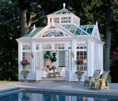 This will be the pool house for my dream home! This will be the pool house for my dream home! This will be the pool house for my dream home! Outdoor Gazebos, Outdoor Rooms, Outdoor Living, Outdoor Retreat, Indoor Outdoor, Future House, Victorian Conservatory, Glass Conservatory, Conservatory Design