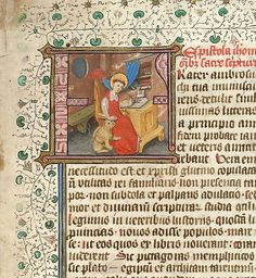 Detail of an historiated initial 'F'(rater) with Jerome and the lion, at the beginning of Jerome's prologue to the Bible. Origin: Netherlands, S. St Jerome, Library Catalog, Scribe, Medieval Art, British Library, Illuminated Manuscript, Looking Up, Netherlands, Initials