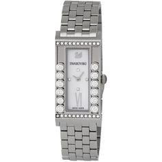 Swarovski Women's Lovely Crystals Square White Watch ($250) ❤ liked on Polyvore featuring jewelry, watches, jewelry & watches, nocolor, druzy jewelry, stainless steel jewelry, wide strap watches, swarovski watches and white strap watches
