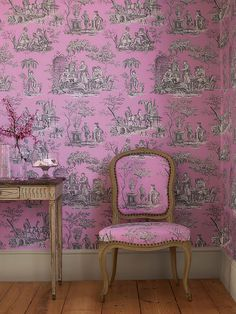 Bright magenta pink toile - manuel canovas!!! Bebe'!!! Striking combination of colors!!!!