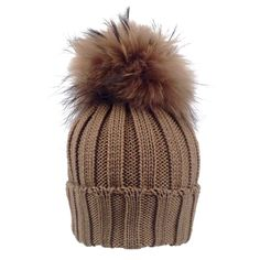 CARAMEL BROWN FUR POM-POM HAT for kids and moms From kidsandcouture.com