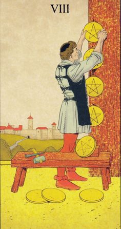 Eight of Pentacles - Before Tarot (Simona Rosi Eon with P. Alligo, C. Kenner & F. Tarot Interpretation, Le Tarot, Tarot Astrology, Tarot Major Arcana, Daily Tarot, Tarot Card Meanings, Tarot Card Decks, Deck Of Cards, Retro