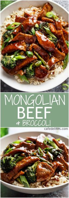 A Mongolian Beef And Broccoli like traditional take-out? With only HALF the oil needed compared to other recipes, this Mongolian Beef is even better!   http://cafedelites.com
