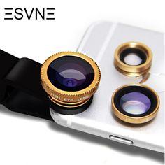 406fb8bdc7e ESVNE Fish eye lens universal 3 in 1 fisheye wide angle macro camera lens  for iphone