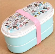 turquoise Mickey and Minnie Mouse comic Bento Box Lunch Box 1