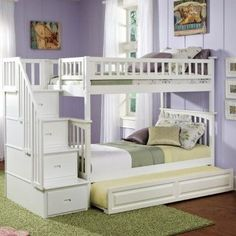 Columbia Twin over Twin Stairway Bunk Bed in White w/ Trundle - Bed Size: Twin/Twin Finish: White Frame Material: Eco-Friendly Hardwood Solid hardwood motise and tenon construction 26 Steel Reinforcement Points Designed for durability Includes two 14 piece slat kits Accepts under bed storage drawers or trundle bed Guard rails match panel design www.bunkbeddeals.com (scheduled via…