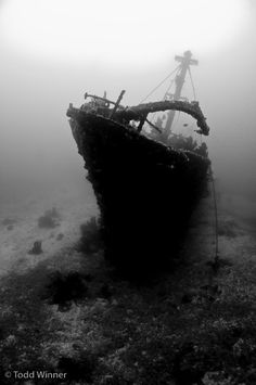 Wreck of the Ann, photographed while diving Solomon Islands. A nice high-contrast wreck photo with a lot of detail and a well defined shape. Photo by Todd Winner.