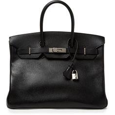 Hermès Black Togo Birkin 35cm (€13.895) ❤ liked on Polyvore featuring bags, handbags, black, hermes handbags, genuine leather handbags, black handbags, leather purse and black purse