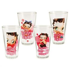 Classic Hollywood Betty Boop 4 Pc. 16 Oz. Glass Set