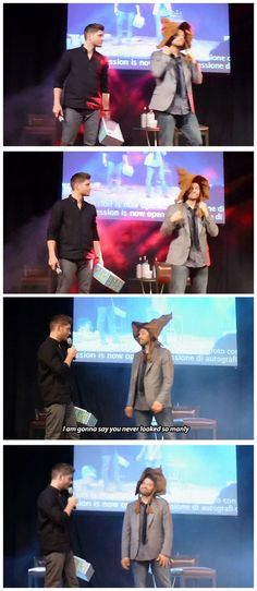 [gifset] Jensen and Misha with the sorting hat. omg that last frame--Misha's face!
