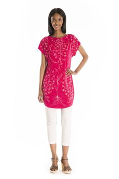 The Chamerion Tunic Print - women's spring summer fashion fuchsia pink bamboo jersey tunic Fukushima, Cowl Neck, Spring Summer Fashion, Bamboo, Tunic Tops, Fabric, Pink, Style, Tejido