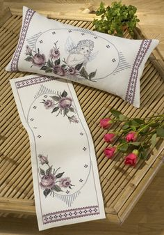 Roses and Cherub Pillow - cross stitch kit by Permin of Copenhagen - An attractive cushion with a cherub and sprays of mauve roses. Cross Stitch Rose, Cross Stitch Flowers, Cross Stitch Patterns, Flower Embroidery Designs, Machine Embroidery Designs, Embroidered Roses, Bargello, Cushion Pads, Fabric Painting