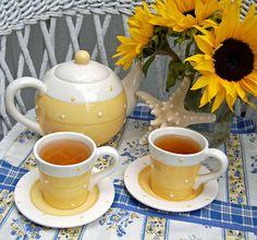 ~Yellow tea cup~pot~flowers~pretty~