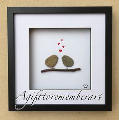 Pebble art, love birds. Instgram