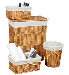 This Honey Wicker Basket Set provides convenient storage space for any room of your home.