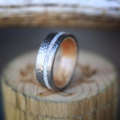 Men's Whiskey Barrel Oak Wedding Ring with Antler. Handcrafted by Staghead Designs.