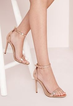 Barely There Ankle Strap Sandal Rose Gold Metalic - Shoes - Missguided