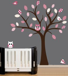 Nursery wall decal tree with owls and birds wall by couturedecals, $99.00