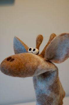 Items similar to Handpuppet Giraffe handfelted on Etsy Glove Puppets, Felt Puppets, Marionette Puppet, Custom Puppets, Felt Crafts, Kids Crafts, Felt Mouse, Sewing Dolls, Soft Dolls