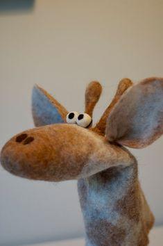 handfelted giraffe handpuppet by Owiekiddie on Etsy