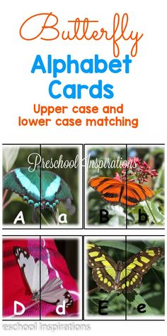 Butterfly alphabet cards to match upper and lower case letters
