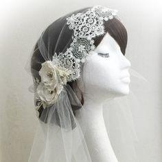 Juliet cap veil, 1920s style veil, Ivory veil, wedding veil, bridal veil