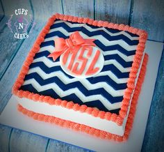 Chevron monogram cake