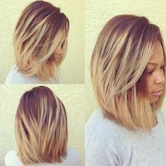 10 New Black Hairstyles with Bangs Ombre Long Bob Haircut for Black Women - Thick Hair Styles New Black Hairstyles, Medium Bob Hairstyles, Weave Hairstyles, Layered Hairstyle, Hairstyles Haircuts, Layered Bob Hairstyles For Black Women, Middle Hairstyles, Wedding Hairstyles, Relaxed Hairstyles