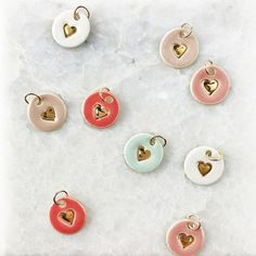 Heart Add-On Charms - Delicate Charm Only - Handmade Heart stamped Pendant in Gold Luster Overgl Polymer Clay Projects, Diy Clay, Diy Love, Bijoux Diy, Ceramic Jewelry, Air Dry Clay, Polymer Clay Earrings, Clay Charms, Clay Creations