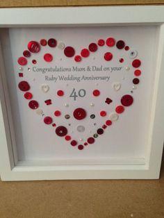 Ruby Wedding Anniversary Button Art Gift, Personalised Wedding Anniversary Framed Gift
