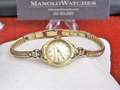 Vintage Bulova Rolled Gold Plate Swiss Ladies Watch w/ Gold Filled Band! Bulova Watches, Michael Kors Watch, Jewelry Watches, Plate, Band, Accessories, Vintage, Plates, Ribbon